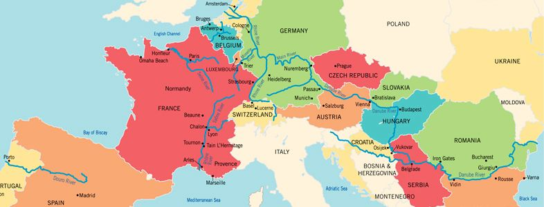Seine River On Map Of Europe.European Rivers River Cruise Agent